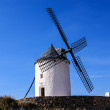 Cervantes Don Quixote windmills and Consuegrcastle. Castile La — Stock Photo #41150697