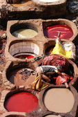 Fez, Morocco. The tannery souk of weavers is the most visited pa — Stock Photo