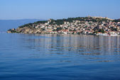 The fortress of Tsar Samuil photographed from distance, in Ohrid — Stock Photo