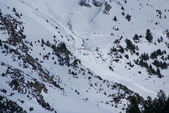 Small avalanche bottom view, torla Resort,Spain — Stock Photo