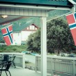 White house with flag in old part of Stavanger, Norway — Stock Photo #45778989