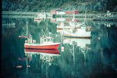Barca da pesca nel porto reine, isole lofoten, Norvegia — Foto Stock