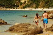 Strand baai in porthino da arrabida, portugal — Stockfoto