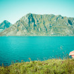 Picturesque coastal panorama on Lofoten islands in Norway on sun — Stock Photo #46094091