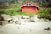 Red house by the see in Lofotn Islands — Stock Photo
