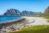 Beautiful view to Eggum beach in Norway, Lofoten islands — Stock Photo