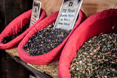 Spices, seeds and tea sold in a traditional market in Granada, S — Stock Photo