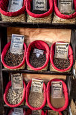 Spices, seeds and tea sold in a traditional market in Granada, S — Stock fotografie