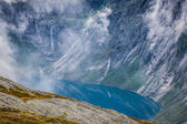 Beautiful norwegian landscape with mountains on the the way to t — Stock Photo
