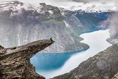 Norway Mountain Trolltunga Odda Fjord Norge Hiking Trail  — Stock Photo