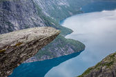 Norway Mountain Trolltunga Odda Fjord Norge Hiking Trail — Stock Photo