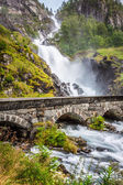 The famous Laatefossen in Odda, one of the biggest waterfalls in — Stock Photo