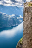 Preikestolen,Pulpit Rock at Lysefjorden (Norway). A well known t — Stock Photo