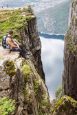 Pulpit Rock at Lysefjorden in Norway. A well known tourist attra — Stock Photo