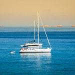 Luxury yacht in turquoise Illetes Formentera mediterranean sea B — Stock Photo #47303789