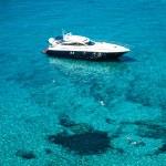 Luxury yacht in turquoise Illetes Formentera mediterranean sea B — Stock Photo #47307813