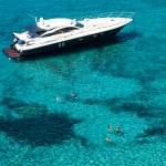 Luxury yacht in turquoise Illetes Formentera mediterranean sea B — Stock Photo #47307971