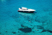 Luxury yacht in turquoise Illetes Formentera mediterranean sea B — Stock Photo