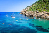 Ibiza Cala Benirras beach in san Joan at Balearic Islands Spain — Stock Photo
