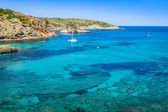 Ibiza Cala Benirras beach in san Joan at Balearic Islands Spain — ストック写真