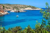 Ibiza Punta de Xarraca turquoise beach paradise in Balearic Isla — Foto Stock
