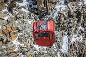 Red cable car railway, cableway, in ski resort — Stock Photo