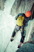 Climber on the route.Aiguille du Midi — Stock Photo