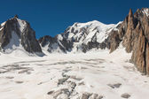 Massif de mont Blanc on the border of France and Italy. In the f — Stockfoto