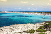Formentera balearic island view from sea of the west coast  — Stock Photo