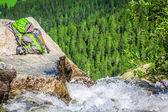 Ein stream rieseln durch felsen im wald — Stockfoto