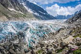 View on Argentiere glacier. Hiking to Argentiere glacier with th — Stock Photo