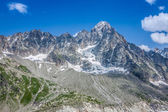 The Aiguille du Moine (l) and the Grande Rocheuse (c) in the fre — Stock Photo
