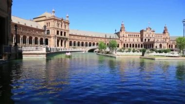 Seville, Spain - famous Plaza de Espana. Old landmark. — Stock Video