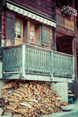Wooden houses in Fiesch - Switzerland — ストック写真