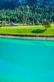 Beautiful view mountain lake. Steg,Malbun in Lichtenstein, Europ — Stock Photo