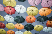 Street decorated with colored umbrellas,Madrid — Stock Photo