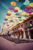 Madrid,Spain 25 July,2014, Street decorated with colored umbrell — Stock Photo