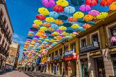 Madrid, españa, 25 de julio de 2014, calle decorada con color aparcami — Foto de Stock