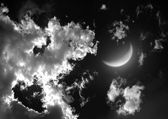 "Half moon in the night sky""Elements of this image furnished by NASA"" — Stock Photo"