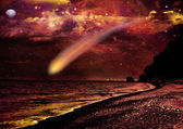 Comet flying through space close to the earth — Stock Photo