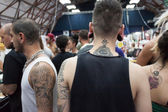 At tattoo convention in Milan — Stock Photo