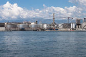 Big clouds over the port of Genoa, Italy — Stock Photo