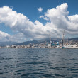 Big clouds over the port of Genoa, Italy — Stockfoto
