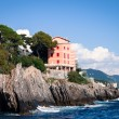 House built on a cliff in Genoa, Italy — Stock Photo