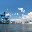 Panoramic view of the port of Genoa, Italy — Stock Photo