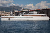 Steve Jobs' luxury yacht in the port of Genoa, Italy — Stock Photo