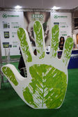 Huge ecological hand at Made expo 2013 in Milan, Italy — Stock Photo