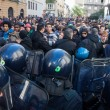 Stock Photo: Riot police confronts secondary school students in Milan, Italy
