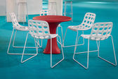 Empty chairs with table at Host 2013 in Milan, Italy — Stock Photo