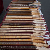Guitar fingerboards at Milano Guitars & Beyond 2013 in Milan, Italy — Stock Photo